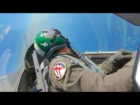 USAF F-16 vs F-15 Dogfight Cockpit View  • Basic Fighter Maneuvers Over Gulf of Mexico