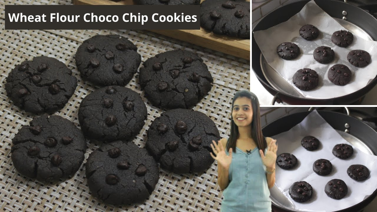No Maida Chocolate Chip Cookies Recipe | Wheat Flour Choco Chip Cookies Without Oven & Eggless