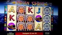 Indian Spirit - 20 Freispiele auf 3 Euro - 330 Euro Gewinn