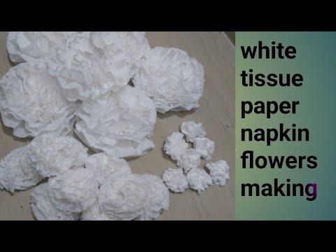 White tissue paper napkin flowers making