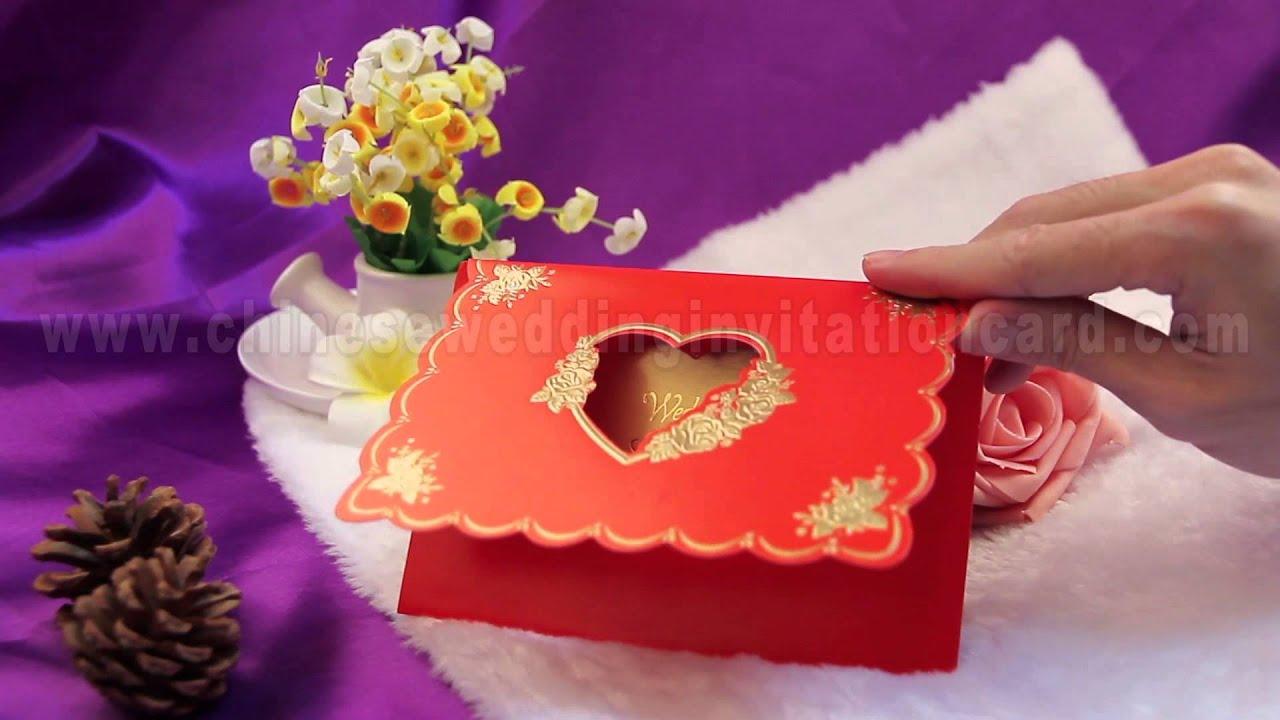 Traditional design red wedding invitation card design - YouTube
