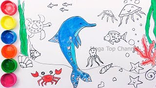 Learn Colors for Kids | How To Draw Dolphin | Learn colours with Animals | Drawing and Coloring