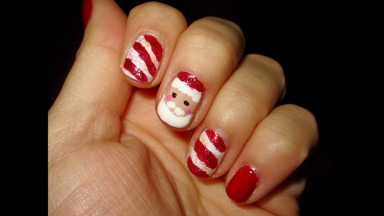 Santa claus nail tutorial youtube prinsesfo Choice Image
