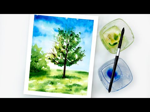 Watercolor LOOSE LANDSCAPE painting – easy step by step tutorial