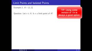 Limit Points and Isolated Points