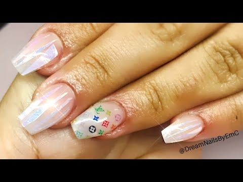 How to: short nude #acrylicnails with encapsulated angel paper and LV rainbow decals | #nailart #wmw