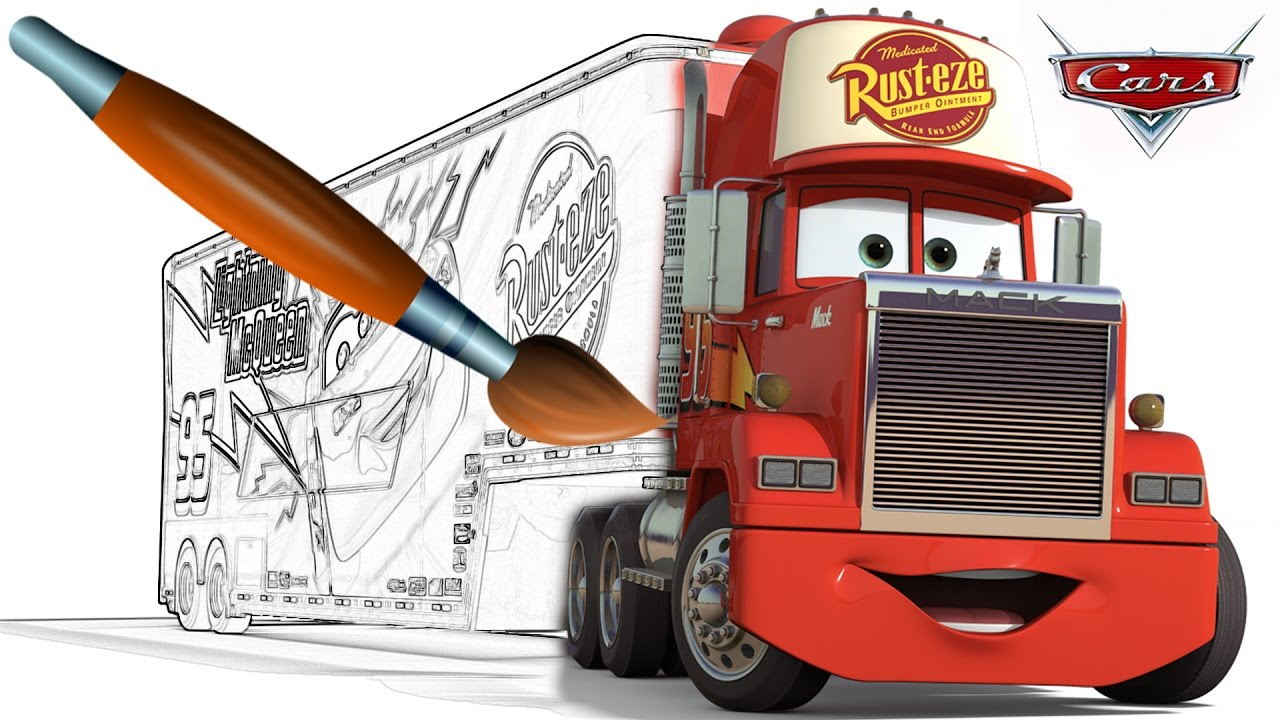 CARS MACK Coloring Book Pages Video For Kids Episode