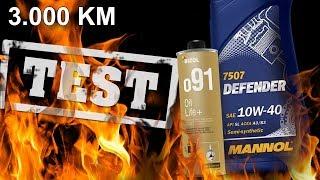 Mannol Defender 10W40 + Bizol Oil Life+ o91 - 3000km Który olej silnikowy jest najlepszy?