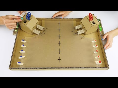 Thumbnail: DIY Warship Battle Marble Board Game from Cardboard at Home