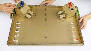 DIY Warship Battle Marble Board Game from Cardboard at Home Video