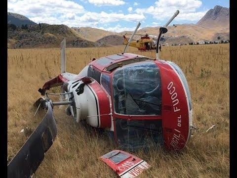 Elicottero dei vigili del fuoco precipita a Fonte Vetica - Salvo l'equipaggio