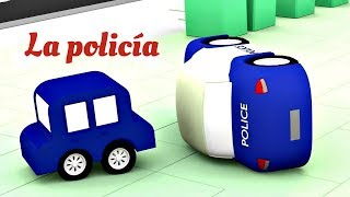 4 coches coloreados. Las aventuras de la policía. Dibujos animados.