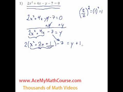 Conics General To Standard Form 1 Youtube