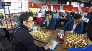 Initial moments of the mega match between India and USA at round 4 of Batumi Olympiad 2018