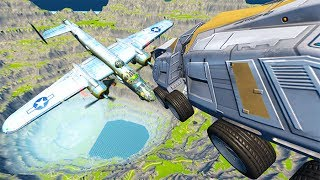 Throwing Cars At Airplane #3 BeamNG drive