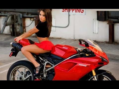 motorcycles a in riding mini skirt Women