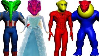 Learn Fun Animals Wrong Dress Wrong Heads Finger Family Song Learn Colors with Superheros for Kids