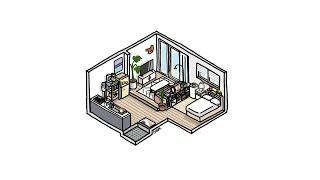 프로크리에이트로 그린 거실 공간이 나뉘어진 원룸