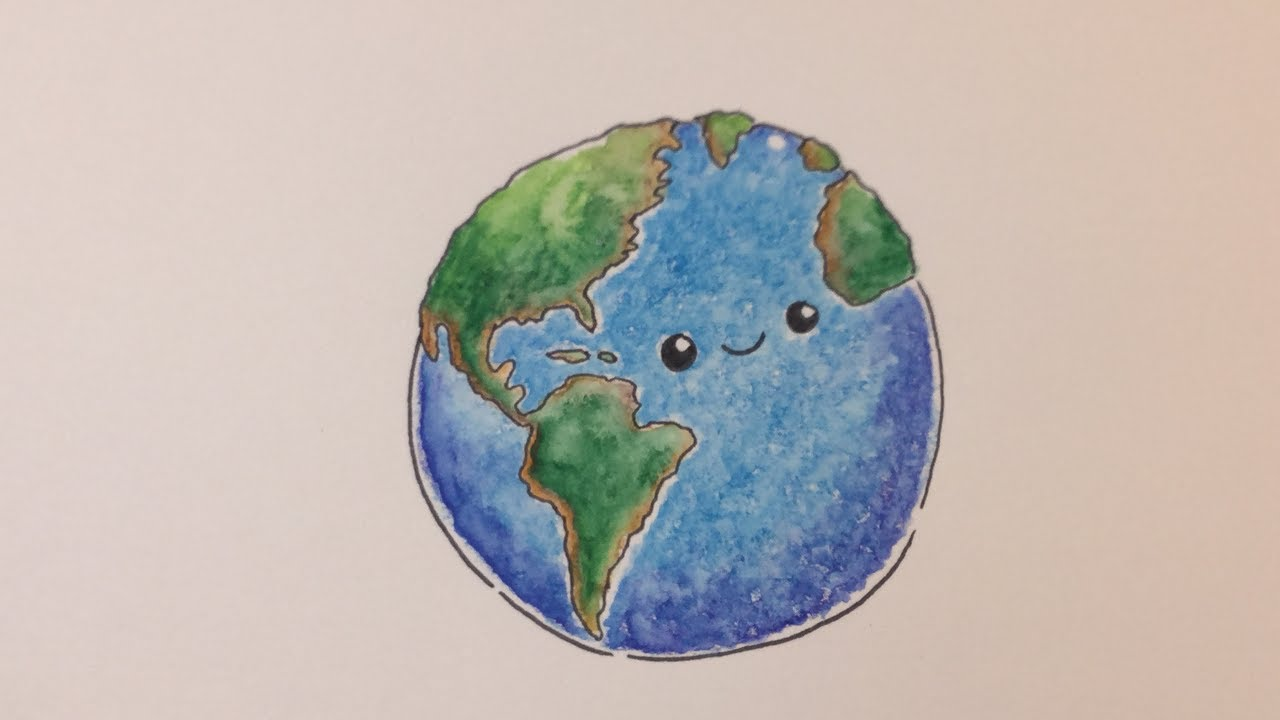 How to draw earth kawaii step by step for Easy to draw earth