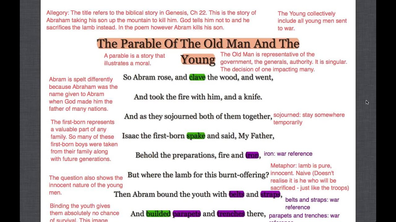 parable of the old man and the young essay The parable of the old man and the young is a poem by wilfred owen that compares the ascent of abraham to mount moriah and his near-sacrifice of isaac there with.