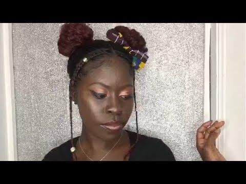 Two Puffs Space Buns W Braids 3b 3c Natural Hair Protective