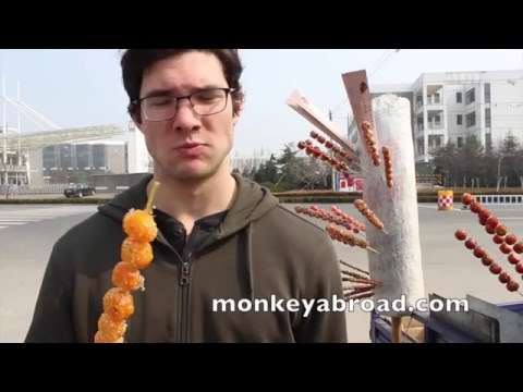 Tanghulu in Shandong, China (Candied Fruit on a Stick)  糖葫芦