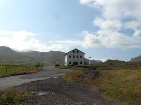 Faroe Islands Plane landing from Copenhagen at Vagar Airport Atlantic Airways