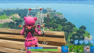 Falling with Shopping Cart from Max Height in Fortnite Battle Royale Gameplay