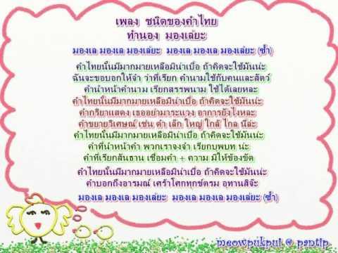เพลงภาษาไทย - ชนิดของคำไทย