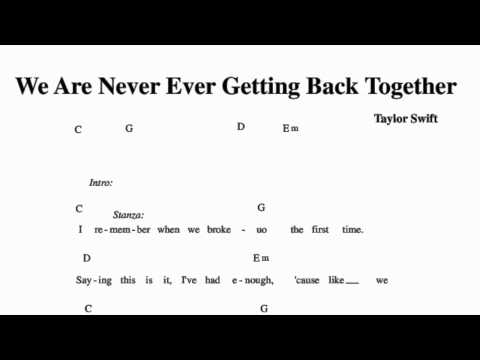 we are never ever ever getting back together chords and lyrics\