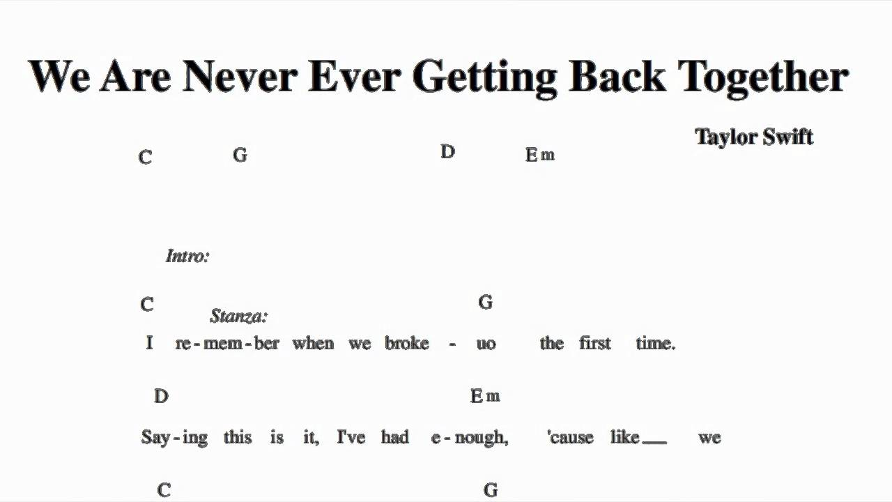 We Are Never Ever Getting Back Together - Taylor Swift - Guitar Chords ...
