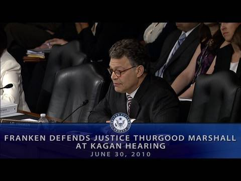 Franken Defends Justice Thurgood Marshall at Kagan Hearing