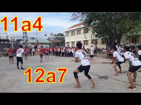 [H1] chung kết bóng chuyền nam 12a7 với 11a4 trường THPT số 1 Phù Mỹ.