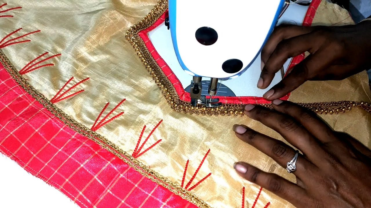 embroidery Work Saree Blouse Design with machine embroidery stitching class