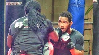 UFC star Kevin Lee works out for the UFC cameras ahead of Al Iaquinta clash