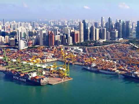 Port of Singapore is one of Asia's biggest maritime hubs, container ships, tankers, dredgers