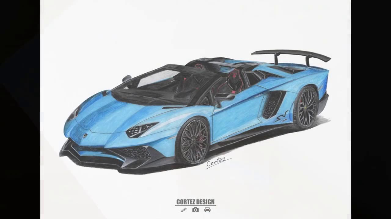 Speed drawing Lamborghini Aventador LP750-4 SV Roadster ...