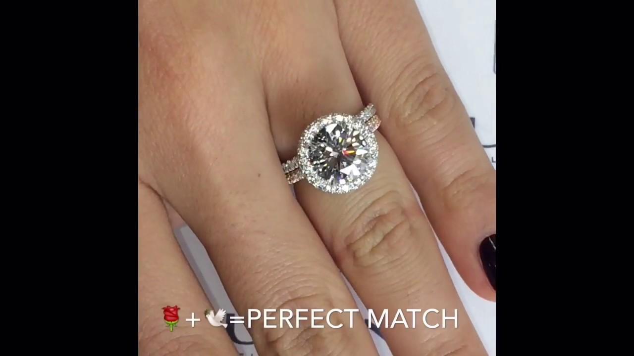 3 Carat Round Diamond Halo Engagement Ring Youtube