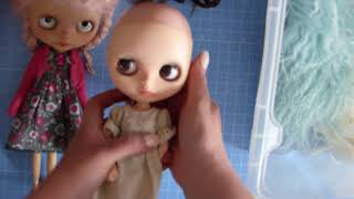 Custom blythe doll collection and hair types including wigs and reroots