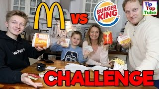 BLIND CHALLENGE Mc Donalds vs. Burger King 😎 REAL MCD FOOD vs BK FOOD 😎  TipTapTube
