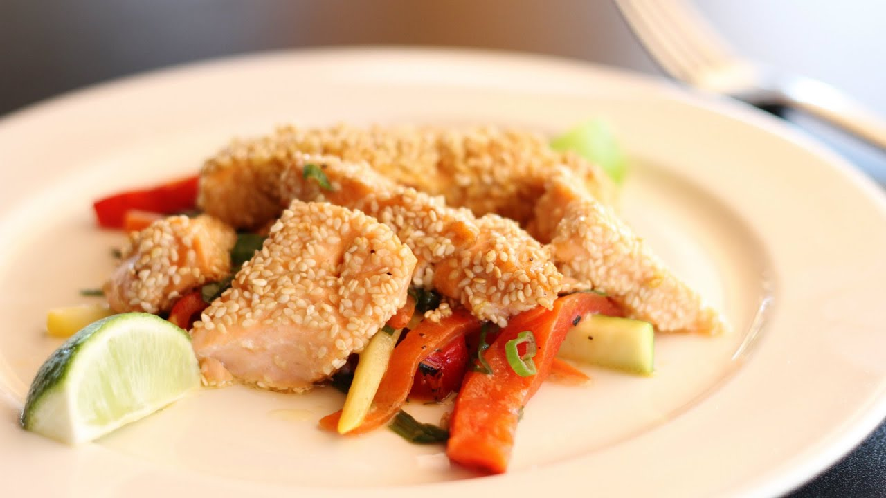Sesame seed crusted salmon fish sticks recipe youtube for Salmon fish sticks