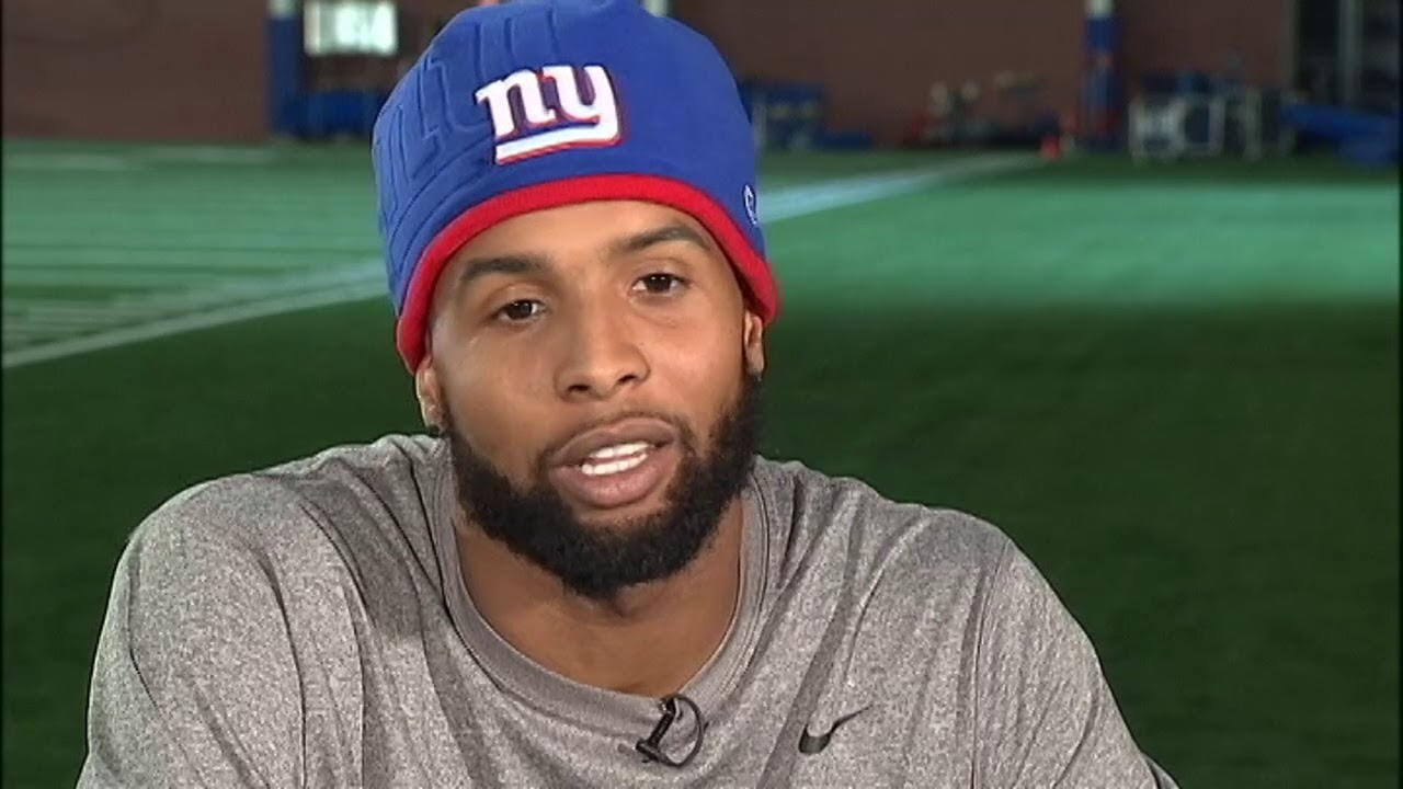 Russ Salzberg talks to NY Giants wide receiver Odell Beckham Jr. about his  dance moves 8ecfc8610f4