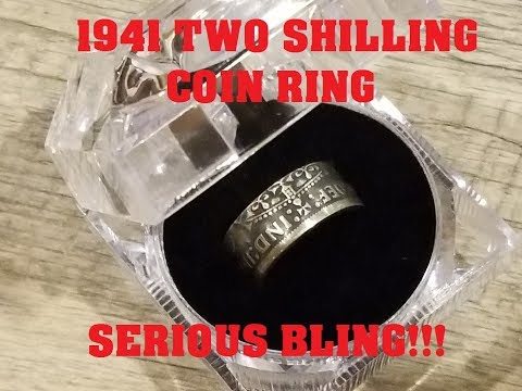 Hand-Made Coin Ring From A 1941 British Two Shilling Thistle And Clover Silver Florin