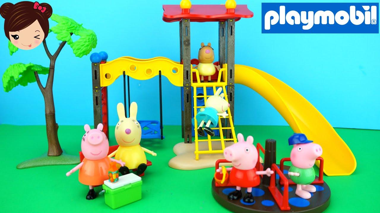 Peppa pig y sus Amigos en el Parque de Juegos Playmobil  Juguetes