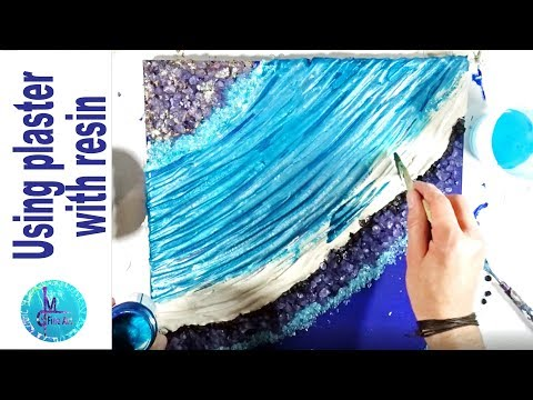 Vibrant blue Resin Agate with PLASTER, glass and glitter pigments