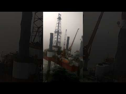 Chopper / Helicopter Landing On Offshore Rig  / US/USA/USSR/EURO/ASIA
