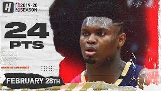 Zion Williamson 24 Points Full Highlights | Cavaliers vs Pelicans | February 28, 2020