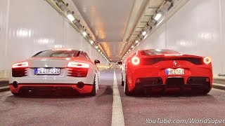 Ferrari 458 Speciale vs Audi R8 INSANE Straight Pipes REV BATTLE!