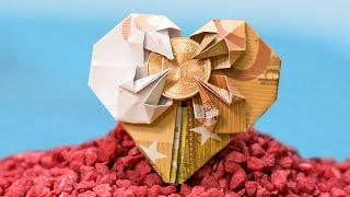 Wedding Money Gift: Heart out of a banknote, origami how-to