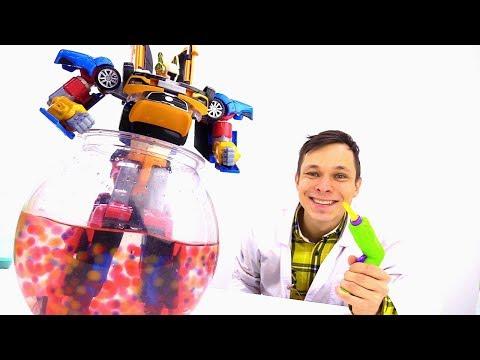 Мультики для мальчиков - Тоботы - Разбираем робота на машинки и отогреваем